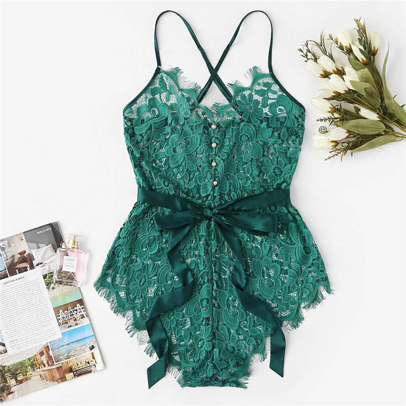 Sexy Criss Cross Eyelash Floral Lace Women Teddies Bodysuits - Green - S to XL - WOMENEXY