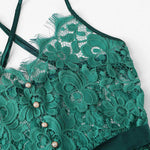Load image into Gallery viewer, Sexy Criss Cross Eyelash Floral Lace Women Teddies Bodysuits - Green - S to XL - WOMENEXY