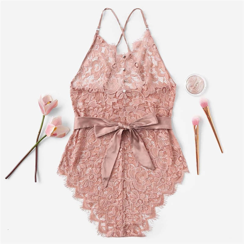 Sexy Criss Cross Eyelash Floral Lace Women Teddies Bodysuits - Pink - S to XL - WOMENEXY