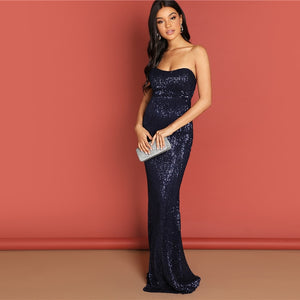 Elegant Sequin Mesh Strapless Bodycon Evening Gown - Navy - WOMENEXY