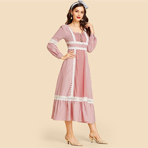 Vintage Contrast Lace Up Front Lace Insert Striped Ruffle Hem Long Sleeve Fit and Flare Solid Women Dresses - Red - WOMENEXY