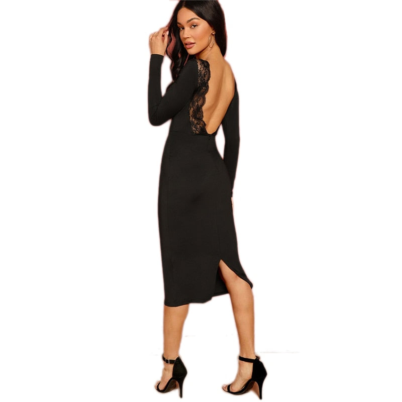 Sexy Lace Trim Backless Knee-Length Long Sleeve Bodycon Pencil Women Dress - Black