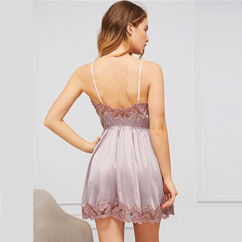 Sexy V-Neck Contrast Lace Satin Cami Women Nightdress - Pink - One Size