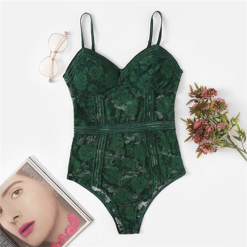 Sexy Floral Lace Women Teddies Rompers - Green - S to L