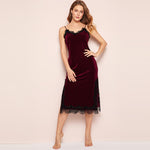 Load image into Gallery viewer, Summer Eyelash Contrast Lace Velvet Cami Spaghetti Strap Women Dress - Burgundy - M to XL - WOMENEXY