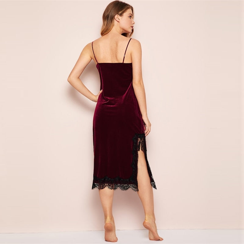 Summer Eyelash Contrast Lace Velvet Cami Spaghetti Strap Women Dress - Burgundy - M to XL - WOMENEXY