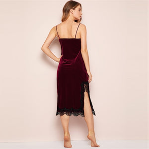 Summer Eyelash Contrast Lace Velvet Cami Spaghetti Strap Women Dress - Burgundy - M to XL
