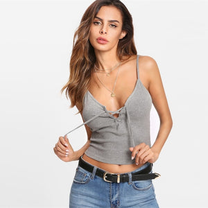 Sexy Deep V-Neck Lace Up Ribbed Backless Crop Spaghetti Strap Slim Fit Women Camis - WOMENEXY