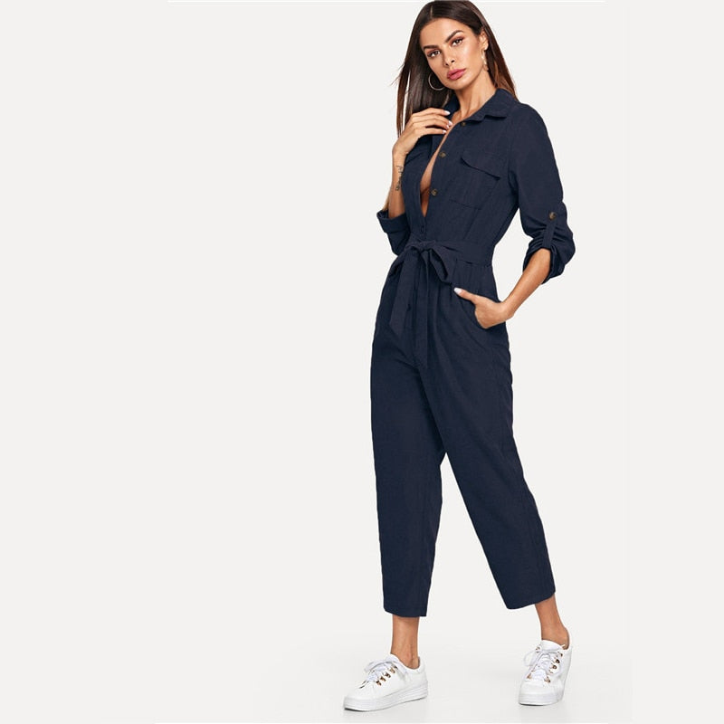 Highstreet Roll Tab Sleeve Button Front Self Belted Women Jumpsuit - Dark Blue