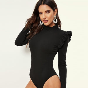 Casual Stand Collar Frill Detail Slim Fitted Skinny Women Bodysuit - Black - WOMENEXY