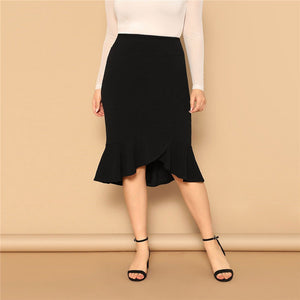 44328736ea9 Office Lady Asymmetrical Ruffle Hem Bodycon Women Plus Size Skirts - Black