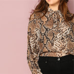 Load image into Gallery viewer, Elegant Tie Neck Snake Skin Print Long Sleeve Plus Size Women Blouses - WOMENEXY