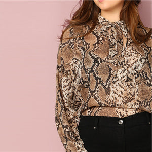 Elegant Tie Neck Snake Skin Print Long Sleeve Plus Size Women Blouses - WOMENEXY