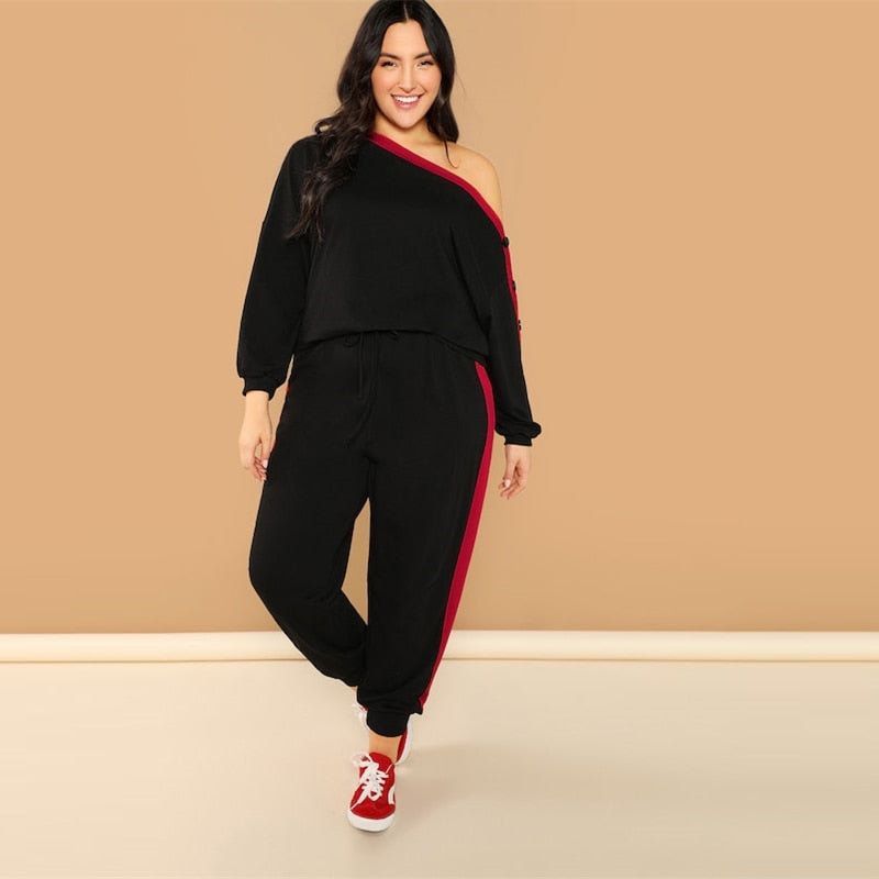 Elegant Asymmetric Shoulder Buttoned Sleeve Sweatshirt & Pants Women Sets - Black - L to 3XL - WOMENEXY