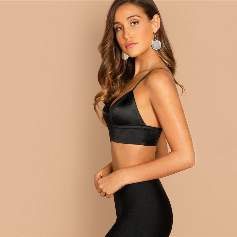 Sexy Deep V-Neck Women Bra - Black - XS to L