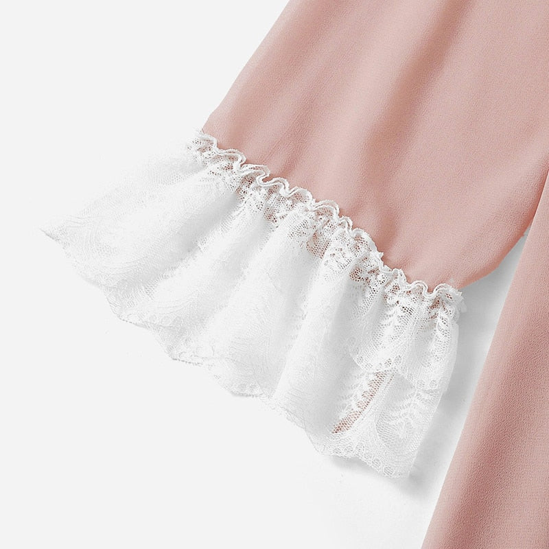 Elegant Tie Neck Eyelash Lace Trim Women Nightdress - Pink - XS to XL - WOMENEXY