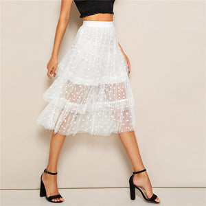 Romantic Tiered Dot Mesh Overlay Frill Detail Midi Women Skirt - White
