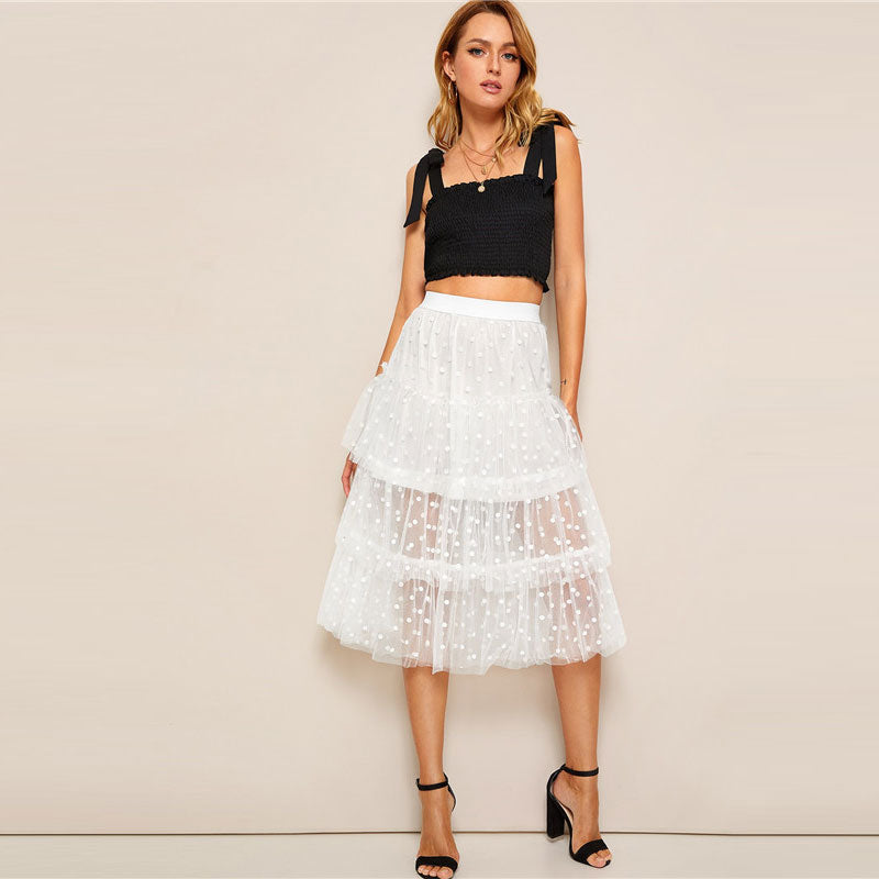 Romantic Tiered Dot Mesh Overlay Frill Detail Midi Women Skirt - White - WOMENEXY