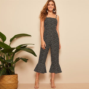 Boho Ruffle Hem Floral Print Sleeveless Women Jumpsuit - Black - WOMENEXY