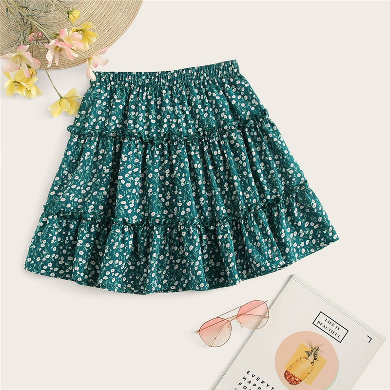 Cute Frilled Trim Ditsy Floral Print Skater Mini Women Skirt - Green - WOMENEXY