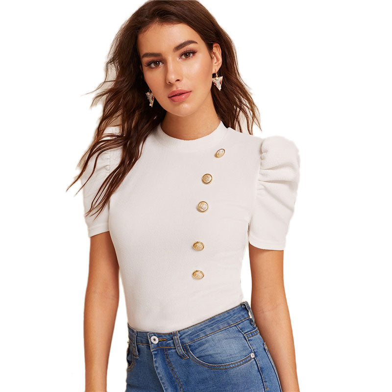 Elegant Mock-Neck Puff Sleeve Button Front Women Blouses - White - Size XS to L - WOMENEXY