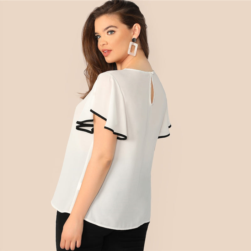 Casual Contrast Binding Butterfly Sleeve Button Ruffle Top Plus Size Women Blouse - White - WOMENEXY