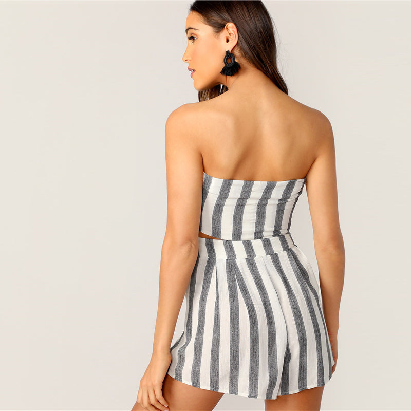 Boho Knotted Front Striped Strapless Tube Crop Top and Shorts Women Set - WOMENEXY