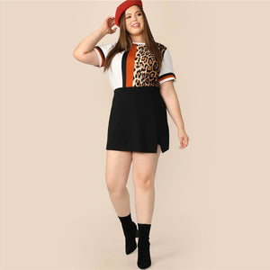 Casual Cut And Sew Striped Leopard Plus Size Women Top - WOMENEXY