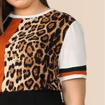 Load image into Gallery viewer, Casual Cut And Sew Striped Leopard Plus Size Women Top - WOMENEXY