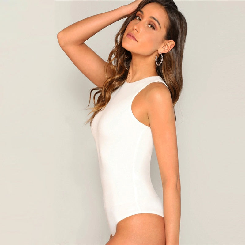 Sexy Slim Fitted Solid Women Bodysuit - White - WOMENEXY