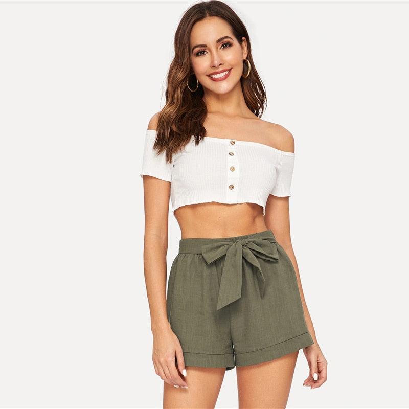 Fitness Self Belted Elastic Waist Women Shorts - Army Green