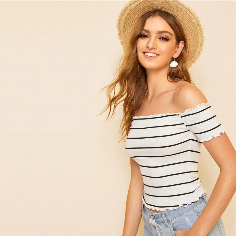 Fabulous Off Shoulder Striped Fitted Crop Top Cap Sleeve Women T-Shirt - White