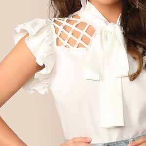 Elegant Tie Neck Cutout Yoke Layered Ruffle Armhole Cap Sleeve Women Blouse - White - WOMENEXY