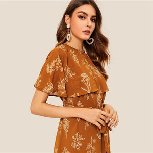 Summer Buttoned Detail Foldover Front Flippy Hem Floral Women Dress - Brown - WOMENEXY