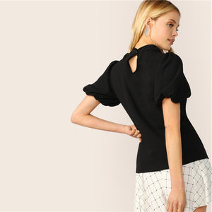 Sexy Cut Out Neck Puff Short Sleeve Women Blouse - Black - WOMENEXY