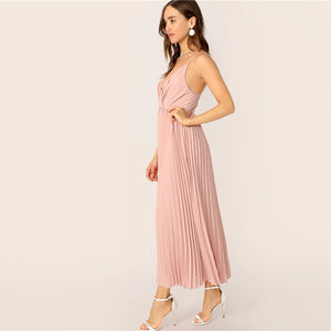 Romantic Surplice Neck Pleated Cami Women Dress - Pink - WOMENEXY