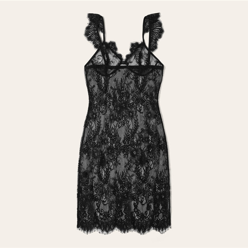 Sexy Sheer Scallop Trim Slip Lace Camisole Women Nightdress - Black - WOMENEXY