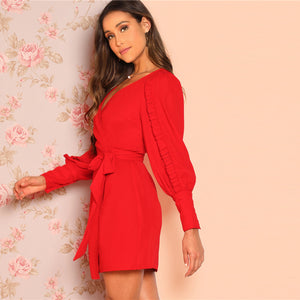 Elegant Frilled Bishop Sleeve Belted Wrap Ruffle Women Dress - WOMENEXY