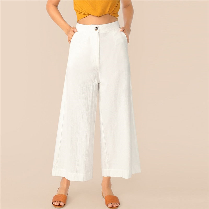Workwear Button Zipper Front Wide Leg Crinkle Women Pants - White
