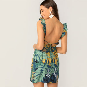 Boho Tie Back Tropical Print Ruffle Strap Mini Women Dress - WOMENEXY