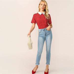 Preppy Heart Print Contrast Collar Pearl Beaded Women T-Shirt - Red