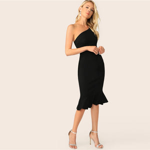 Elegant One Shoulder Pep Hem Bodycon Midi Women Dress - Black - WOMENEXY