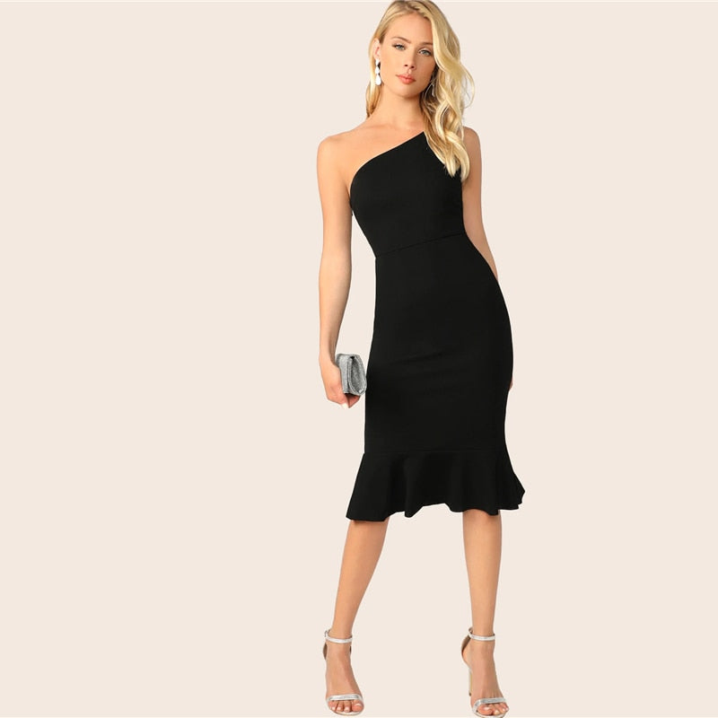 Elegant One Shoulder Pep Hem Bodycon Midi Women Dress - Black