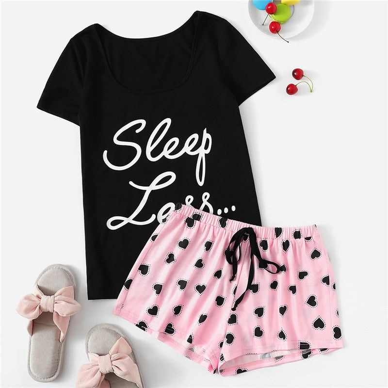 Cute Short Sleeve Slogan T-Shirt and Heart Print Drawstring Waist Shorts Women Pajamas Set - WOMENEXY