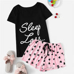 Load image into Gallery viewer, Cute Short Sleeve Slogan T-Shirt and Heart Print Drawstring Waist Shorts Women Pajamas Set - WOMENEXY
