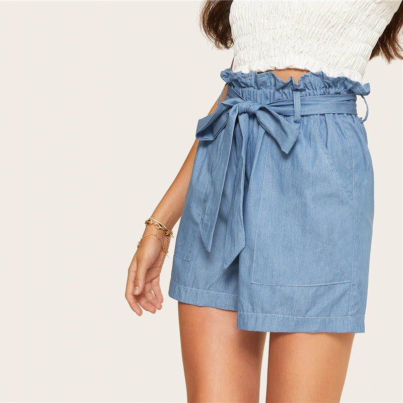 Casual Paperbag Waist Twin Pocket Patched Belted Denim Women Shorts - Blue - WOMENEXY