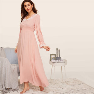 Casual Shirred Panel Lace Trim Bell Sleeve Women Nightgown - Pink - WOMENEXY