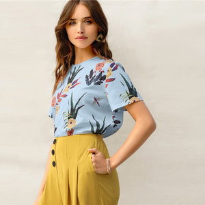 Casual Floral and Plants Print Women Shirts - Blue / Pink / White / Yellow - WOMENEXY