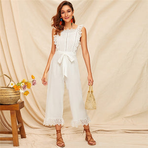 Sexy Embroidery Eyelet Scallop Trim Backless Wide Leg Jumpsuit - White