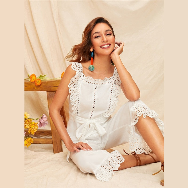 Sexy Embroidery Eyelet Scallop Trim Backless Wide Leg Jumpsuit - White - WOMENEXY